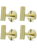 cheap -Rustproof SUS304 Stainless Steel Brushed Steel Finished Bathroom Accessories Golden Robe Hooks High Quality Pack 4