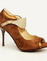 cheap -Women's Latin Shoes PU Heel Slim High Heel Dance Shoes Brown / Performance
