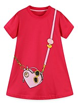 cheap -Kids Girls' Geometric Dress Red