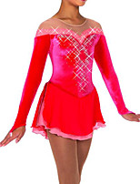 cheap -Figure Skating Dress Women's Girls' Ice Skating Dress Red Patchwork Spandex High Elasticity Training Competition Skating Wear Crystal / Rhinestone Long Sleeve Ice Skating Figure Skating