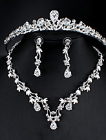 cheap -Women's White Cubic Zirconia Head Jewelry Hoop Earrings Necklace Classic Drop Pear Basic Korean Sweet Cute Earrings Jewelry Silver For Wedding Party Engagement Three-piece Suit / Bridal Jewelry Sets