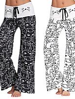 cheap -Women's Yoga Pants Drawstring 3D Print Black White Cotton Dance Fitness Gym Workout Bottoms Sport Activewear Breathable Quick Dry Soft Loose