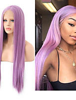 cheap -Synthetic Lace Front Wig Silky Straight Middle Part Lace Front Wig Long Purple Synthetic Hair 18-26 inch Women's Cosplay Silky Heat Resistant Purple