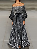 cheap -A-Line Off Shoulder Floor Length Polyester Sparkle Engagement / Formal Evening Dress 2020 with Sequin