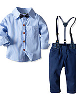cheap -Kids Toddler Boys' Basic Birthday Party Party & Evening Striped Long Sleeve Regular Regular Clothing Set Blue