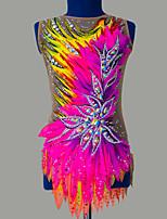 cheap -21Grams Rhythmic Gymnastics Leotards Artistic Gymnastics Leotards Women's Girls' Leotard Blushing Pink Spandex High Elasticity Breathable Handmade Jeweled Diamond Look Sleeveless Training Dance