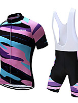 cheap -21Grams Men's Short Sleeve Cycling Jersey with Bib Shorts Polyester Blue+Pink Geometic Bike Clothing Suit UV Resistant 3D Pad Quick Dry Sports Solid Color Mountain Bike MTB Road Bike Cycling Clothing