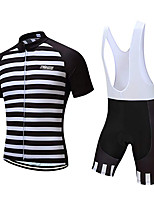 cheap -21Grams Men's Short Sleeve Cycling Jersey with Bib Shorts Polyester Black / White Stripes Geometic Bike Clothing Suit UV Resistant Breathable 3D Pad Quick Dry Sweat-wicking Sports Solid Color