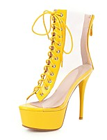 cheap -Women's Boots Transparent Shoes Stiletto Heel Peep Toe PU Booties / Ankle Boots Classic Spring & Summer Yellow / Green / Silver / Wedding / Party & Evening / Color Block