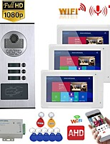 cheap -7inch Record Wired Wifi Video Intercom 3 Apartments with 3 Family RFID Doorphone System IR-CUT HD 1080P Doorbell Camera