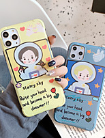 cheap -Fashion iPhone 11 Case Cute Vibrant Matte IMD Cartoon Case Slim Fit Black Bumper Full-Body Soft Protective TPU Case for Apple iPhone 11 6.1 inch / iPhone 7 / iPhone 8 Space Boy Girl Couple Phone Case