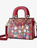 cheap -Women's Zipper PU Top Handle Bag Character Purple / Red / Green