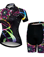 cheap -21Grams Women's Short Sleeve Cycling Jersey with Shorts Black / Red Floral Botanical Bike Clothing Suit Breathable Quick Dry Ultraviolet Resistant Sweat-wicking Sports Floral Botanical Mountain Bike