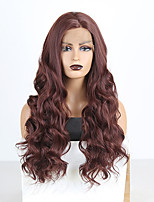 cheap -Synthetic Lace Front Wig Wavy Side Part Lace Front Wig Long Burgundy Synthetic Hair 18-26 inch Women's Cosplay Soft Adjustable Burgundy