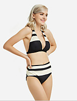 cheap -Women's Plus Size Black Bikini Swimwear Swimsuit - Striped S M L Black