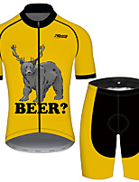 cheap -21Grams Men's Short Sleeve Cycling Jersey with Shorts Black / Yellow Oktoberfest Beer Bike Clothing Suit UV Resistant Breathable Quick Dry Sweat-wicking Sports Oktoberfest Beer Mountain Bike MTB Road