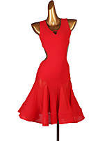 cheap -Latin Dance Dresses Women's Training Chinlon / Tulle Split Joint Sleeveless High Dress