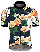 cheap -21Grams Men's Women's Short Sleeve Cycling Jersey 100% Polyester Blue+Yellow Floral Botanical Bike Jersey Top Mountain Bike MTB Road Bike Cycling Quick Dry Sports Clothing Apparel / Race Fit