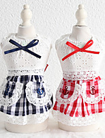 cheap -Dog Costume Dress Dog Clothes Breathable Blue Easter Costume Beagle Bichon Frise Chihuahua Cotton Plaid / Check Bowknot Lace Cosplay Cute XS S M L XL