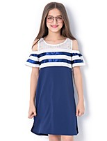 cheap -Kids Girls' Color Block Dress Blue