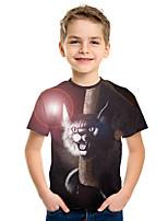 cheap -Kids Boys' Active Street chic Cat 3D Animal Print Short Sleeve Tee Rainbow