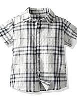 cheap -Kids Toddler Boys' Basic Street chic Color Block Houndstooth Short Sleeve Shirt White