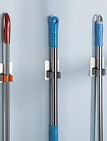 abordables -3 pièces vadrouille porte-balai porte-outils de nettoyage rack de stockage forte viscosité adhésif sans perçage antirouille auto-adhésif 304 # acier inoxydable 3m19-3