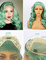 cheap -Synthetic Lace Front Wig Body Wave Side Part Lace Front Wig Long Mint Green Synthetic Hair 16-26 inch Women's Heat Resistant Synthetic Easy dressing Green / Natural Hairline