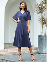 cheap -A-Line V Neck Tea Length Polyester / Nylon Minimalist / Blue Cocktail Party / Nightclub Dress with Ruched 2020