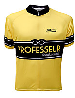 cheap -21Grams Men's Short Sleeve Cycling Jersey Winter 100% Polyester Black / Yellow Bike Jersey Top Mountain Bike MTB Road Bike Cycling UV Resistant Breathable Quick Dry Sports Clothing Apparel / Stretchy