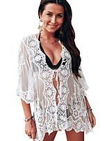 cheap -Women's White Bikini Swimwear - Floral One-Size White