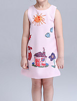 cheap -Toddler Girls' Geometric Sleeveless Above Knee Dress White