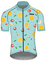 cheap -21Grams Men's Short Sleeve Cycling Jersey 100% Polyester Blue+Orange Fruit Bike Jersey Top Mountain Bike MTB Road Bike Cycling UV Resistant Breathable Quick Dry Sports Clothing Apparel / Stretchy