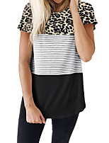 cheap -Women's Daily Basic T-shirt - Striped / Leopard Patchwork Black