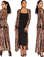 cheap -The Great Gatsby Retro Vintage 1920s Summer Cloak Women's Sequins Sequin Costume Black+Golden / Silver / Apricot Vintage Cosplay Event / Party Long Sleeve / Dress