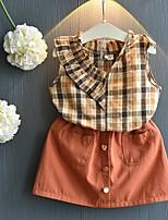 cheap -Kids Girls' Basic Plaid Sleeveless Clothing Set Orange