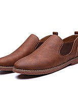 cheap -Men's Comfort Shoes Microfiber Fall & Winter Loafers & Slip-Ons Booties / Ankle Boots Light Brown / Dark Brown