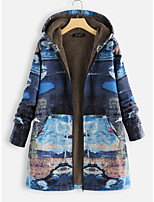 cheap -Women's Daily Winter Regular Coat, Geometric Hooded Long Sleeve Cotton Yellow / Blue