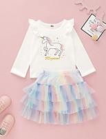 cheap -Baby Girls' Basic Rainbow Long Sleeve Regular Clothing Set White