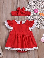 cheap -Baby Girls' Basic Solid Colored Long Sleeve Romper Red