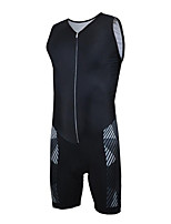 cheap -21Grams Men's Sleeveless Triathlon Tri Suit Black Bike Clothing Suit UV Resistant Breathable Quick Dry Sweat-wicking Sports Solid Color Mountain Bike MTB Road Bike Cycling Clothing Apparel / Stretchy
