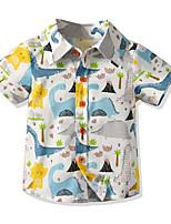 cheap -Kids Toddler Boys' Basic Blue & White Geometric Short Sleeve Shirt Blue