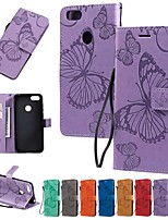 cheap -Case For Motorola Moto G7 / Moto G7 Plus / Moto G7 Play Wallet / Card Holder / with Stand Full Body Cases Butterfly / Solid Colored PU Leather