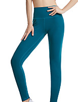 cheap -Women's Yoga Pants Solid Color Black Dark Green Green Blue Fruit Green Cotton Running Fitness Tights Leggings Sport Activewear Moisture Wicking Butt Lift Tummy Control Stretchy Skinny