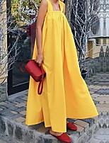 cheap -Women's Elegant Shift Dress - Solid Colored Black Yellow S M L XL