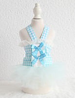 cheap -Dog Costume Dress Dog Clothes Breathable Blue Costume Beagle Bichon Frise Chihuahua Cotton Plaid / Check Bowknot Lace Cute Lolita XS S M L XL