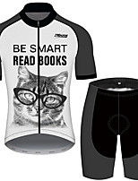 cheap -21Grams Men's Short Sleeve Cycling Jersey with Shorts Black / White Cat Animal Oktoberfest Beer Bike Clothing Suit UV Resistant Breathable Quick Dry Sweat-wicking Sports Cat Mountain Bike MTB Road