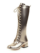 cheap -Women's Boots Chunky Heel Round Toe Microfiber Mid-Calf Boots Classic / Vintage Spring &  Fall / Winter Gold / Silver / Party & Evening