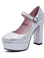cheap -Women's Wedding Shoes Chunky Heel Round Toe PU Fall & Winter White / Red