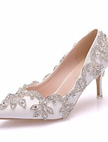 cheap -Women's Wedding Shoes Glitter Crystal Sequined Jeweled Stiletto Heel Pointed Toe PU Spring & Summer White